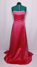 PRECIOUS FORMALS FUSCHIA BEADED JEWELED SATIN PROM FORMAL GOWN DRESS 16