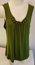 NWT Notations Tank Top / Sleeveless - Size L - Green with Beads at Neckline