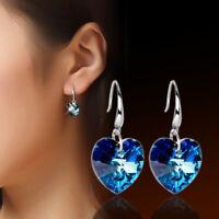 925 Sterling Silver Solid Blue Crystal Heart Drop Dangle Earrings Women Jewelry