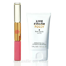 2 Kate Spade Live Colorfully Rollerball & Lipgloss Duo + Perfumed Body Cream 1oz