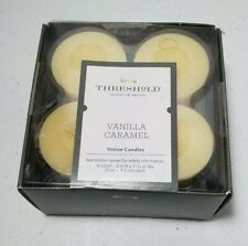 "Threshold Vanilla Caramel Votive Candles Set of 4 Paraffin Wax 2"" Tall"