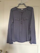 New Look Blue & White Long 3/4 Sleeve Striped Summer Top Blouse Shirt Size 16