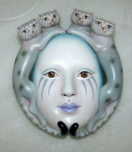 SERGIO BUSTAMANTE WOMEN'S MASK WITH FOUR CAT'S BUST WALL HANGING SIGNED NUMBERED