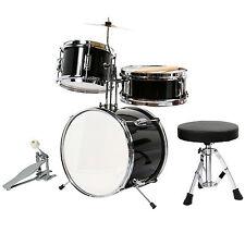 "13"" 3 PCS Complete Junior Drum Set Cymbal Child Kids Kit Black with Stool&Sticks"