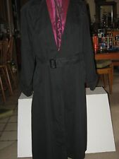 VINTAGE CHRISTIAN DIOR BLACK TRENCH COAT sz12 MADE IN USA