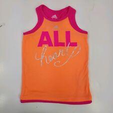 Adidas Girls Top Orange Pink Racerback Sports Graphic Sleeveless Stretch Size 4T