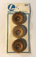 """BGE ORIGINALS 3 ROUND BROWN WOOD LOOK PLASTIC ROUND 4 HOLE 1"""" VINTAGE NOS"""