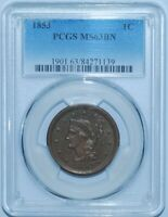 1853 PCGS MS63BN Brown Braided Hair Large Cent