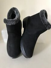 Black Faux Suede Ankle Boot 37 4 New Furry Cuff Low Wedge Flattish Side Zip