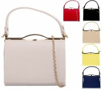 Ladies Patent Box Handbag Clutch Bag Top Handle Rigid Evening Bag Purse