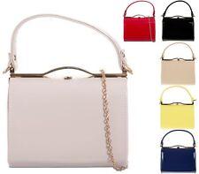 Ladies Patent Box Handbag Clutch Bag Top Handle Rigid Evening Bag Purse