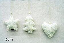 Set 6 pz decorazioni albero di natale bianche tessuto ricamato pizzo sfere