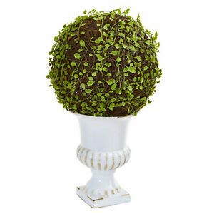 """Mohlenbechia Ball Topiary In White Urn Realistic Nearly Natural 18"""" Home Decor"""