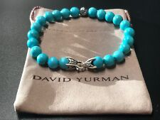 DAVID YURMAN Spiritual Bead Bracelet Sterling Silver with Turquoise 8mm Sz. Lg