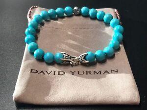 DAVID YURMAN Spiritual Bead Bracelet Sterling Silver with Turquoise 8mm Sz M