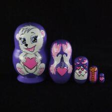 Nesting Dolls Souvenir 5 pcs Cute Bear Violet