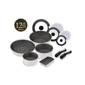 Iris Ohyama 12-Piece Wok, Frypan & Pot Set with Detachable Handles