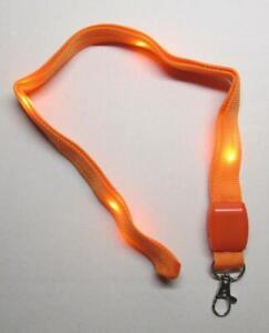 LED Blinking Light Up ORANGE LANYARD KEY CHAIN Ring Keychain ID Holder NEW