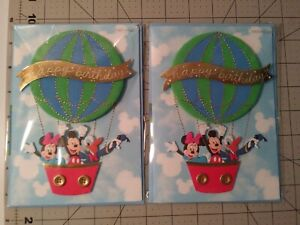 Papyrus 3D Mickey Mouse Hot Air Balloon Happy Birthday Cards 2 cards