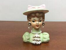 "Vintage Velco 3912B Lady Headvase Head Vase  5 3/4""  Ruffle Blouse Jewels Pearls"