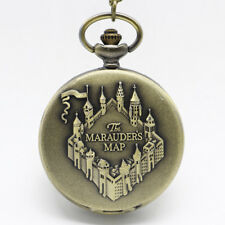 Harry Potter Hogwarts Marauders Map Pocket Watch Full Hunter Necklace Cosplay