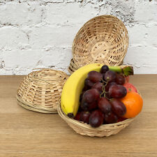 Set Of Oval Woven Bamboo Fruit Snacks Bread Small Wicker Storage Gift Baskets
