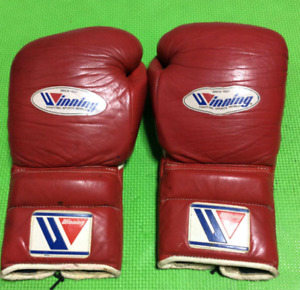 WINNING Boxing Gloves Genuine Leather 14oz Red Color Made in Japan Used