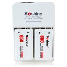 Soshine Portable Battery Charger + 2x 600mAh 9V Li-ion Rechargeable Batteries