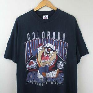 Vintage Colorado Avalanche Taz T-Shirt Black Unisex Cotton Reprint TK4405