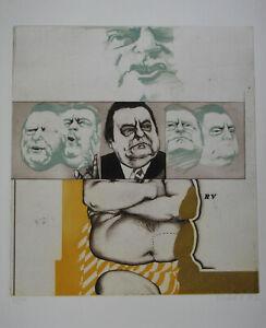 "HARTMUT FRIEDRICH , 1935 . "" FRANZ JOSEF STRAUß "" FARBRADIERUNG 1972 signiert."