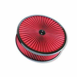 """14"""" X 4"""" Round Red High Flow Thru Washable Air Cleaner Drop Base Lid Extreme"""