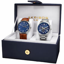 Akribos XXIV AK972SSBU-S Men's Leather Strap/Stainless Steel Bracelet Watch Set