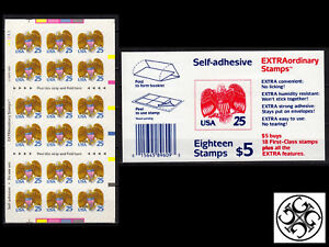 US 1989 Sc#2431a - S/A BOOKLET 18 x 25¢ EAGLE & SHIELD, MNH - AT FACE