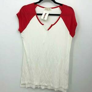 Pink Rose Raglan Top Size Large Beige Red Cap Sleeves