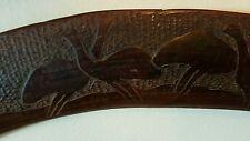 Australian boomerang/ hunting stick 82cm long with emu & kangaroo decor c1920
