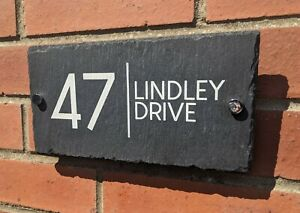 Contemporary Slate House Sign Style 2