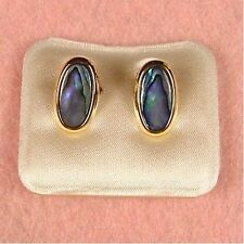 Paua Jewelry - Gold Plated Oval Clip On Earrings (PE203)