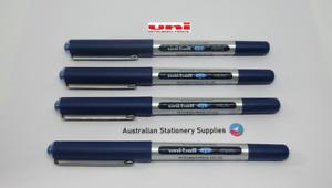 4 x BLUE Uniball Eye Micro Pen 0.5mm S/Steel Tip Capped UB150 in stock