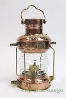 Brass & Copper Anchor Oil Lamp ~ Nautical Maritime Ship Lantern Boat halloween