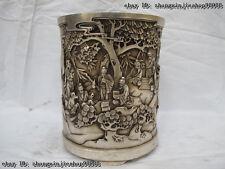 Tibet White Copper Silver pine tree Old Men association Brush Pot pencil vase