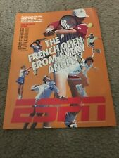 Vtg ESPN FRENCH OPEN TENNIS Poster Print Ad 1990s JIM COURIER ANDRE AGASSI NIKE