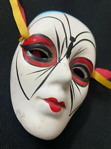 """Hand Painted Vintage Masque Mask Face Head Figurine Wall hanging Porcelain 3"""""""