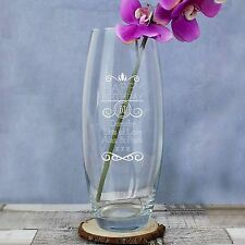 Personalised Happy Birthday Engraved Age + Message Glass Vase Gift for Her