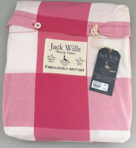 Jack Wills Bellany Duvet Cover Double Hot Pink White/Pink Check New With Tags