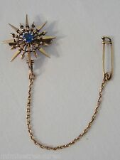 "14K Rose Gold Victorian 1"" Starburst Sapphire Brooch Safety Pin Arrow 5.6gr Rare"