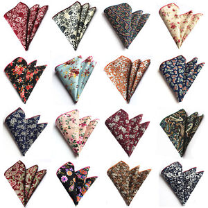 Men Fashion Flowers Paisley Pattern Cotton Handkerchief Hanky Pocket Square