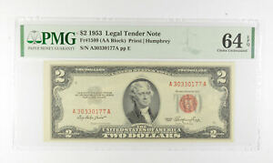 1953 $2 FR1509 (AA Block) Red Seal Graded PMG - 64 EPQ Legal Tender *801