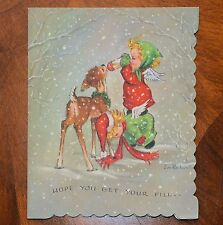Vintage UNUSED Christmas Card Artist EVE ROCKWELL ANGELS FEEDING DEER w/ BOTTLE