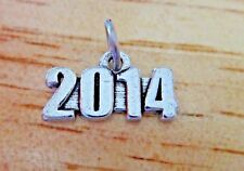 6 PEWTER Silver 9x17mm Birth Anniversary Graduation Wedding Date 2014 Year Charm