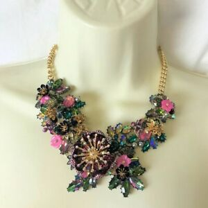 NEW Betsey Johnson Surreal Forest Crystal Flower Floral Frontal Necklace
